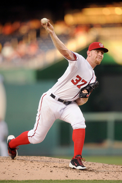 . Stephen Strasburg #37 of the Washington Nationals in the second inning during a baseball against the Colorado Rockies on July 1, 2014 at Nationals Park in Washington, DC.  (Photo by Mitchell Layton/Getty Images)