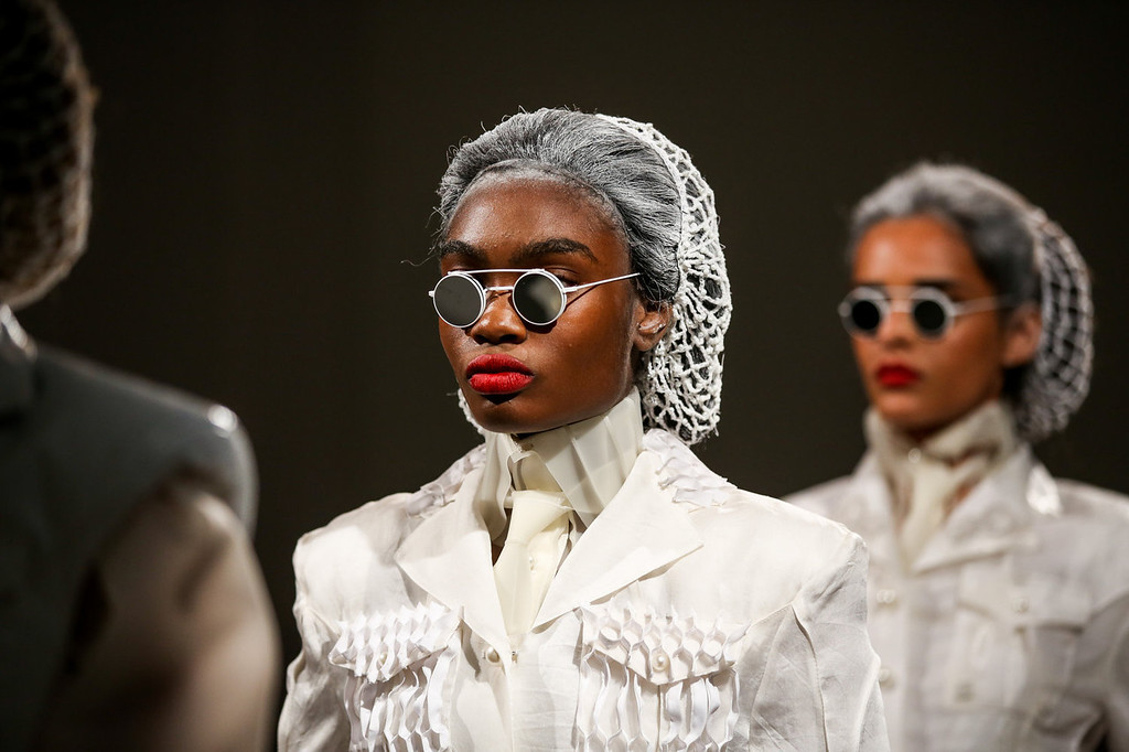 . Models walk the runway at the Thom Browne Women\'s fashion show during Mercedes-Benz Fashion Week Spring 2014 at Center 548 on September 9, 2013 in New York City.  (Photo by Chelsea Lauren/Getty Images)