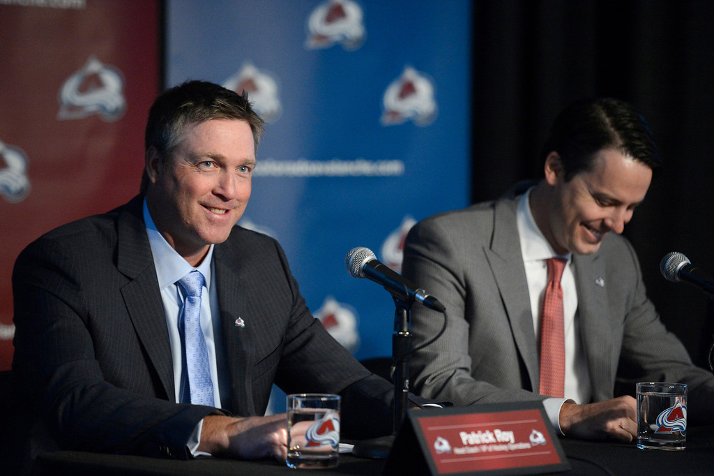 . The Colorado Avalanche announced Patrick Roy as their new head coach/vice president of hockey operations May 28, 2013 at Pepsi Center. Roy smiles as he looks out to the crowd as Avalanche President Josh Kroenke smiles. This will make Roy the sixth  head coach in Avalanche history since coming to Denver. (Photo By John Leyba/The Denver Post)