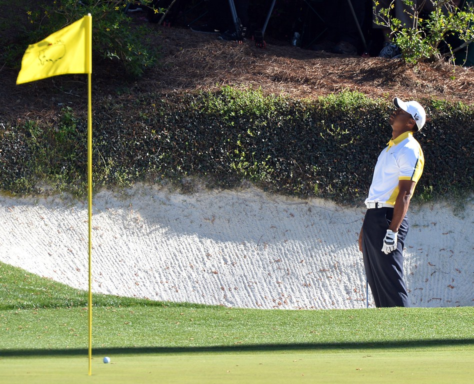 . Tiger Woods of the US reacts during the second round of the 77th Masters golf tournament at Augusta National Golf Club on April 12, 2013 in Augusta, Georgia.   JEWEL SAMAD/AFP/Getty Images