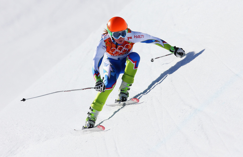 . Marusa Ferk of Slovenia skis during the Alpine Skiing Women\'s Downhill on day 5 of the Sochi 2014 Winter Olympics at Rosa Khutor Alpine Center on February 12, 2014 in Sochi, Russia.  (Photo by Alexander Hassenstein/Getty Images)