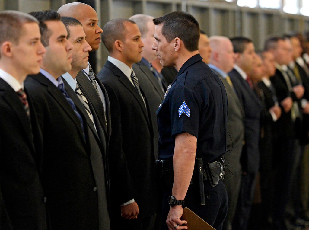 . Sergeant Kevin Bray address the new recruits on the first day of police academy training for the Denver Police Department, April 29, 2013. (Photo By RJ Sangosti/The Denver Post)