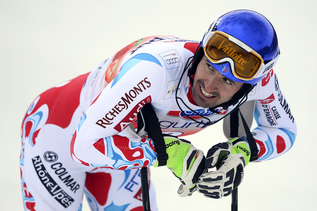 . France\'s Jean-Baptiste Grange reacts after the FIS Men\'s alpine skiing World Cup Slalom finals,  on March 16, 2014,  in Lenzerheide. AFP PHOTO / FABRICE COFFRINI