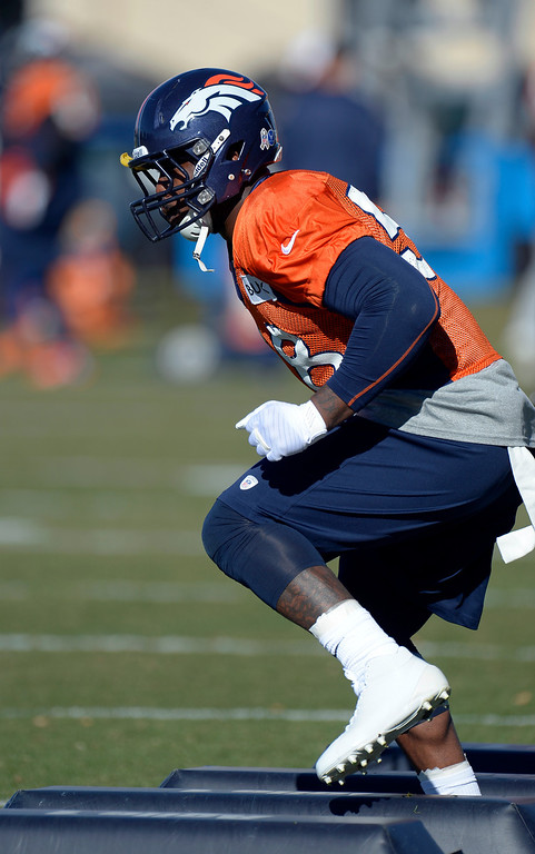 . Denver Broncos outside linebacker Von Miller (58) runs through drills during practice November 20, 2013 at Dove Valley (Photo by John Leyba/The Denver Post)