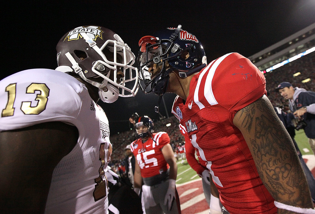 . Ole Miss and Mississippi State go head-to-head during their rivalry in November, 2012.  (Photo Courtesy of Ole Miss Athletics)