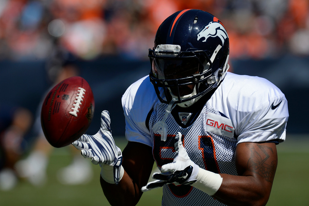 . Denver Broncos LB, Jamar Chaney during a drill at Sports Authority Field at Mile High Saturday afternoon, August 02, 2014. (Photo By Andy Cross / The Denver Post)