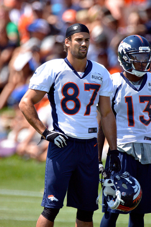 . Denver Broncos WR Eric Decker watches drills during training camp July 26, 2013 at Dove Valley. (Photo By John Leyba/The Denver Post)