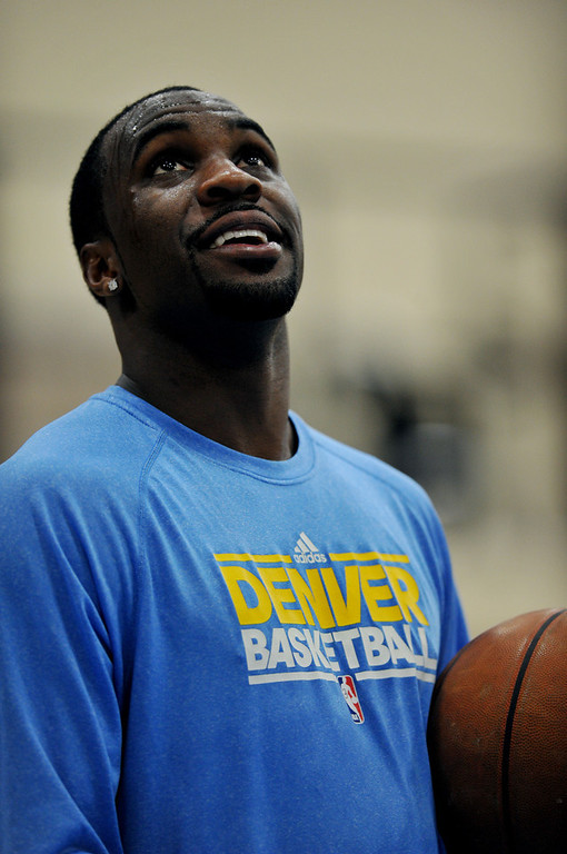 . Ty Lawson of Denver Nuggets is in the team practice for the 1st round of playoff game against Golden State Warriors at Pepsi Center. Denver. Denver, Colorado. April 19, 2013. (Photo By Hyoung Chang/The Denver Post)