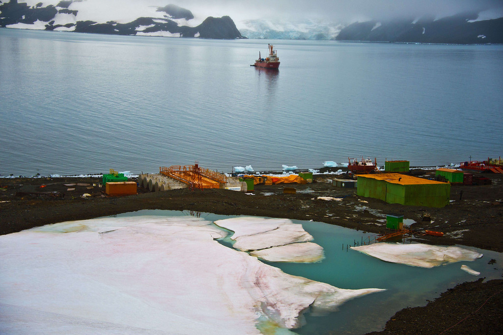 . View from a hill of the Brazilian Comandante Ferraz Antarctic station on March 10, 2014.    AFP PHOTO / VANDERLEI ALMEIDA /AFP/Getty Images
