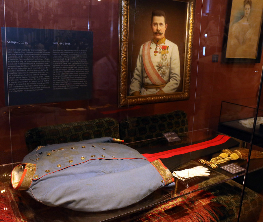 . The blood soaked uniform jacket worn by Austrian Archduke Franz Ferdinand when he was shot to death in Sarajevo is on display at the Museum of Military History in Vienna, Austria, on Friday, June 27, 2014. Franz Ferdinand and his wife Sophie were assassinated in Sarajevo on June 28, 1914, and event which eventually led to the outbreak of World War I. (AP Photo/Ronald Zak)