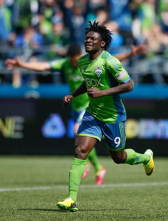 . Obafemi Martins #9 of the Seattle Sounders FC reacts after scoring a goal in the second half against the Colorado Rapids at CenturyLink Field on April 26, 2014 in Seattle, Washington. The Sounders defeated the Rapids 4-1. (Photo by Otto Greule Jr/Getty Images)
