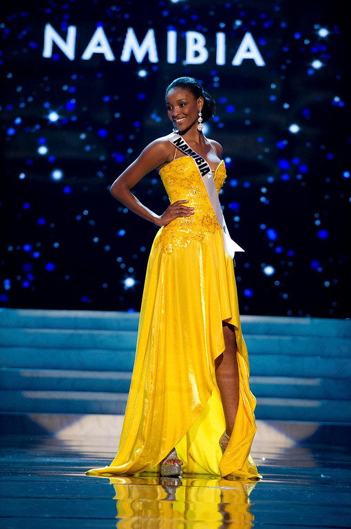 . Miss Namibia 2012 Tsakana Nkandih competes in an evening gown of her choice during the Evening Gown Competition of the 2012 Miss Universe Presentation Show in Las Vegas, Nevada, December 13, 2012. The Miss Universe 2012 pageant will be held on December 19 at the Planet Hollywood Resort and Casino in Las Vegas. REUTERS/Darren Decker/Miss Universe Organization L.P/Handout