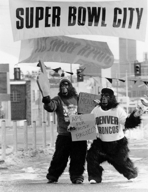 . Going Ape over the Denver Broncos, two young women dressed up to Sells Brocomania Items, 1988.  (Glen Martin/The Denver Post)