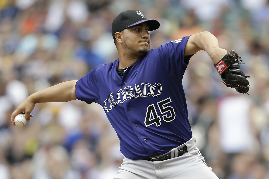 . MILWAUKEE, WI - JUNE 28: Jhoulys Chacin #45 of the Colorado Rockies pitches during the first inning against the Milwaukee Brewers at Miller Park on June 28, 2014 in Milwaukee, Wisconsin. (Photo by Mike McGinnis/Getty Images)