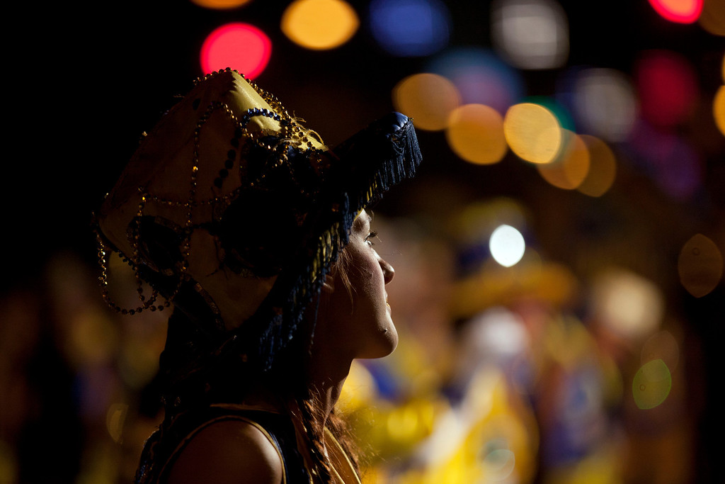 ". A member of the murga ""Los amantes de La Boca\"" participates in carnival celebrations in Buenos Aires, Argentina, Saturday, Feb. 2, 2013. (AP Photo/Natacha Pisarenko)"