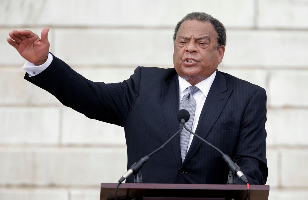 """. Former United Nations Ambassador Andrew Young speaks at the Let Freedom Ring ceremony at the Lincoln Memorial in Washington, Wednesday, Aug. 28, 2013, to commemorate the 50th anniversary of the 1963 March on Washington for Jobs and Freedom. It was 50 years ago today when Martin Luther King Jr. delivered his \""""I Have a Dream\"""" speech from the steps of the memorial.   (AP Photo/Carolyn Kaster)"""