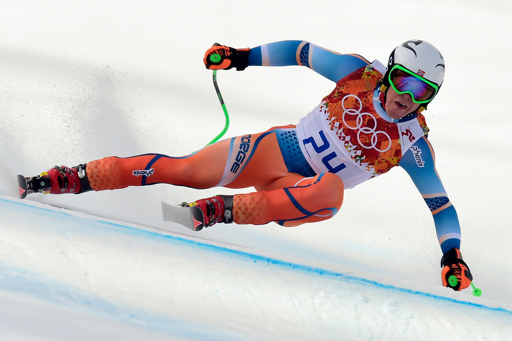 . Norway\'s Alexsander Aamodt Kilde competes during the Men\'s Alpine Skiing Super-G at the Rosa Khutor Alpine Center during the Sochi Winter Olympics on February 16, 2014.   FABRICE COFFRINI/AFP/Getty Images