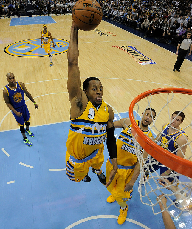 . DENVER, CO. - APRIL 23: Denver Nuggets shooting guard Andre Iguodala (9) dunks the ball in the first quarter. The Denver Nuggets took on the Golden State Warriors in Game 2 of the Western Conference First Round Series at the Pepsi Center in Denver, Colo. on April 23, 2013. (Photo by John Leyba/The Denver Post)