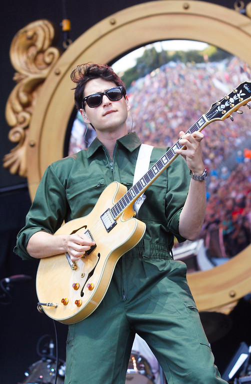 . Ezra Koenig with Vampire Weekend performs on Day 1 of the 2013 Austin City Limits Music Festival at Zilker Park on Friday, Oct. 4, 2013, in Austin, Texas. (Photo by Jack Plunkett/Invision/AP)