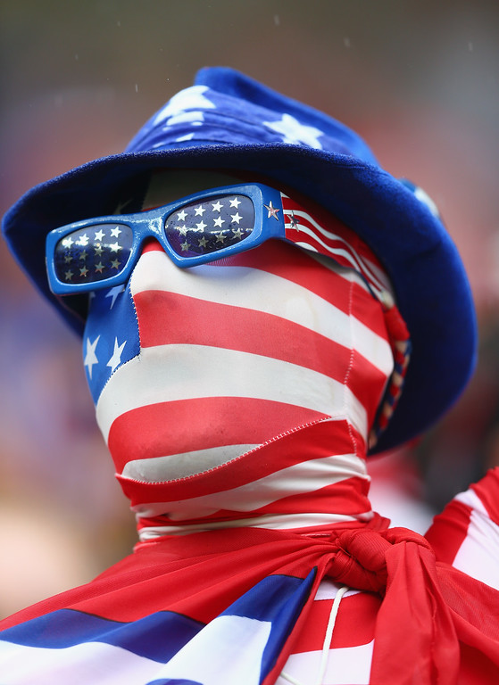 . A fan of the United States looks on prior to the 2014 FIFA World Cup Brazil group G match between the United States and Germany at Arena Pernambuco on June 26, 2014 in Recife, Brazil.  (Photo by Michael Steele/Getty Images)