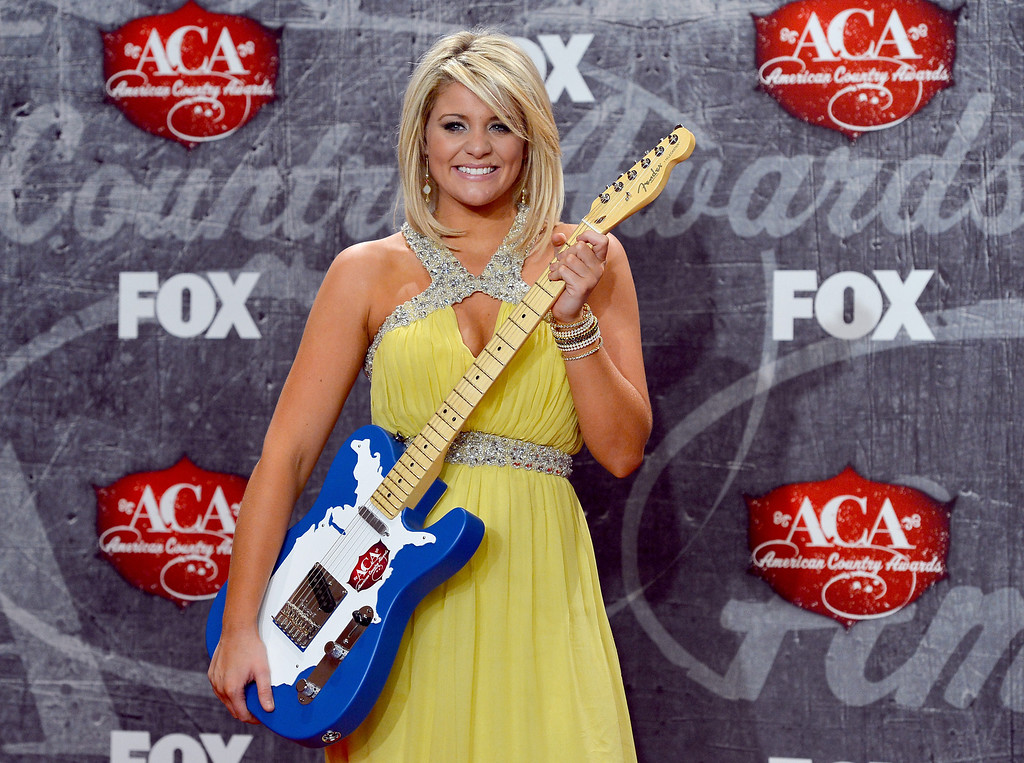 . LAS VEGAS, NV - DECEMBER 10:  Singer Lauren Alaina poses in the press room with her award for New Artist of the Year during the 2012 American Country Awards at the Mandalay Bay Events Center on December 10, 2012 in Las Vegas, Nevada.  (Photo by Frazer Harrison/Getty Images)