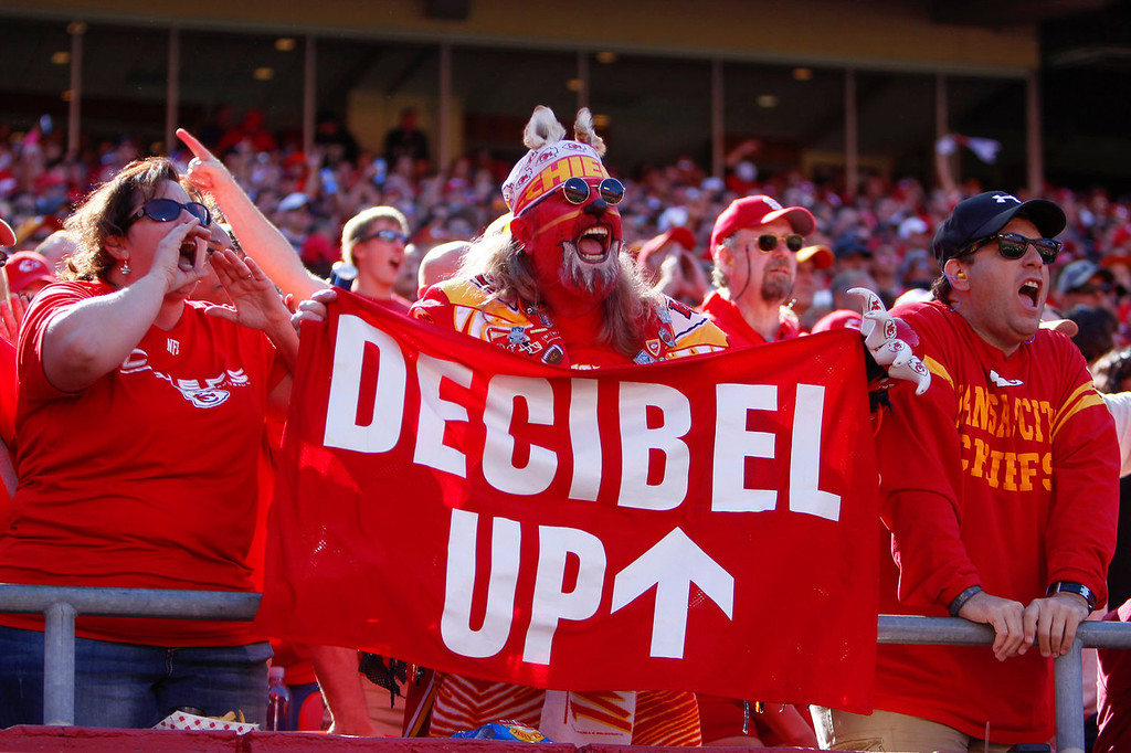 . A fan screams during one of the attempts for the Guinness World Record of loudest stadium as the Kansas City Chiefs take on the Oakland Raiders in the third quarter October 13, 2013 at Arrowhead Stadium in Kansas City, Missouri. (Photo by Kyle Rivas/Getty Images)