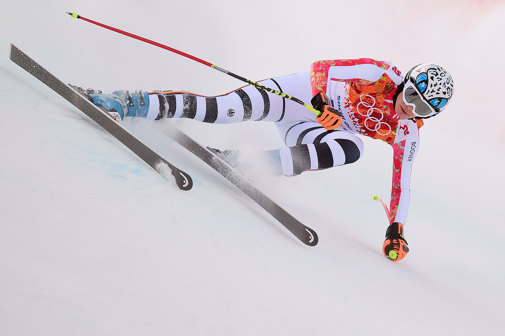 . Germany\'s Maria Hoefl-Riesch competes during the Women\'s Alpine Skiing Super Combined Downhill at the Rosa Khutor Alpine Center during the Sochi Winter Olympics on February 10, 2014.          AFP PHOTO / FABRICE COFFRINI/AFP/Getty Images