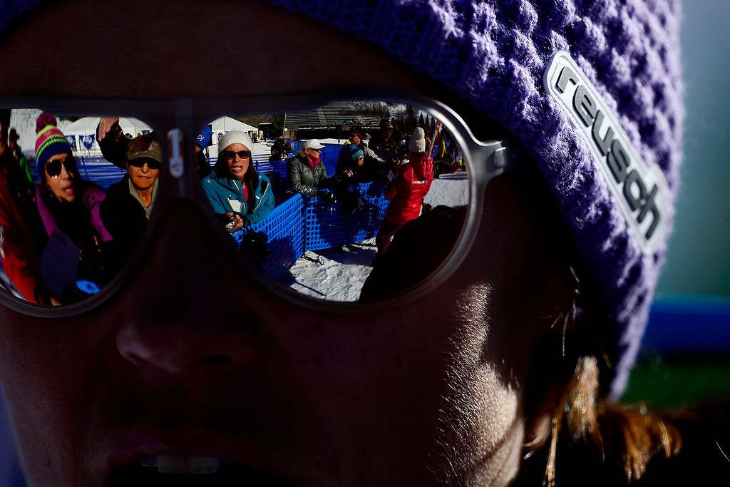 . Slovenia\'s Tina Maze conducts interviews following her practice downhill run for the Audi FIS Beaver Creek World Cup near Avon, Colorado. (Photo by AAron Ontiveroz/The Denver Post)