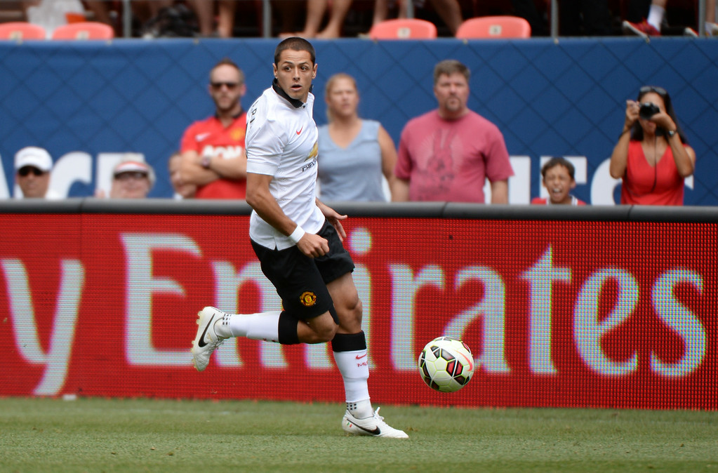 . Javier Hernandez of Manchester United (14) is in action in the 2nd half of the game against AS Roma at Sports Authority Field at Mile High in Denver, Colorado,  July 26, 2014. (Photo by Hyoung Chang/The Denver Post)