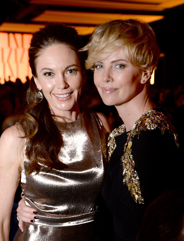 . BEVERLY HILLS, CA - OCTOBER 17:  Actresses Diane Lane (L) and Charlize Theron, wearing Ferragamo,  attend the Wallis Annenberg Center for the Performing Arts Inaugural Gala presented by Salvatore Ferragamo at the Wallis Annenberg Center for the Performing Arts on October 17, 2013 in Beverly Hills, California.  (Photo by Jason Merritt/Getty Images for Wallis Annenberg Center for the Performing Arts)