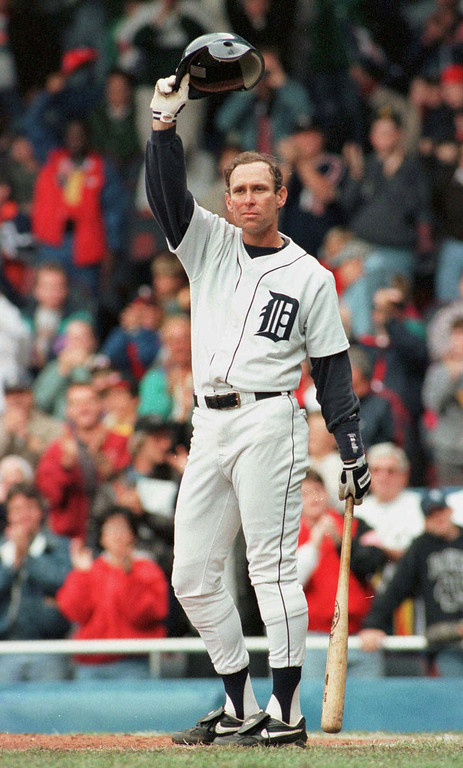 . ALAN TRAMMELL -- Detroit Tigers\' Alan Trammell waves to the crowd in the 10th inning as he comes up to bat against the Milwaukee Brewers on Sept. 29, 1996, in Detroit. Trammell announced his retirement following the game.   (AP Photo/Duane Burleson)