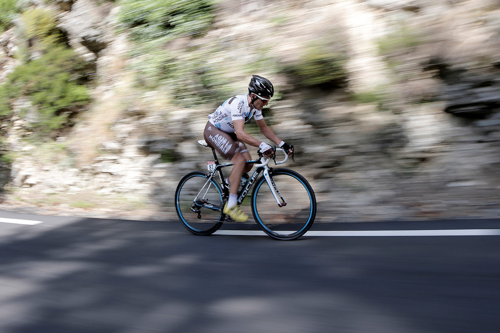 . Blel Kadri of France rides in the breakaway during the second stage of the Tour de France cycling race over 156 kilometers (97.5 miles) with start in Bastia and finish in Ajaccio, Corsica island, France, Sunday June 30, 2013. (AP Photo/Laurent Cipriani)