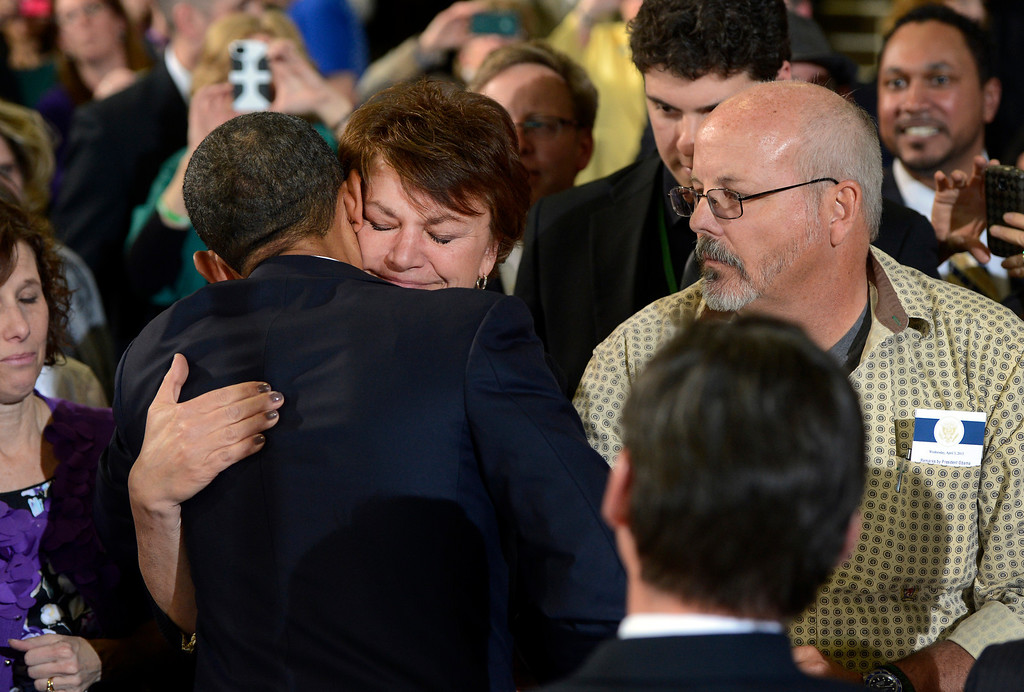 . DENVER, CO. - APRIL 03: President Barack Obama greets Terry and Tom Sullivan following forum at the Denver Police Academy in Denver, CO April 03, 2013. Sullivan\'s son, Alex, was killed in the Aurora theater shooting, July 20, 2012. In his first trip to Colorado since his re-election, President Obama urged Congress to act more like the state\'s Democratic-controlled legislature and quickly pass stronger gun-control laws. During the meeting with law enforcement officials and community leaders, Obama praised lawmakers and Gov. John Hickenlooper for passing some of the nation\'s strongest gun-control measures after the shootings in Aurora and at a Connecticut elementary school. (Photo By Craig F. Walker/The Denver Post)