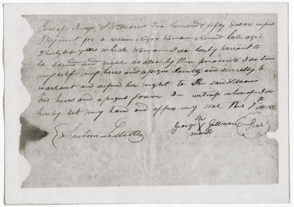 . Receipt for $250.00 as payment for Negro man, January 20, 1840.  Library of Congress