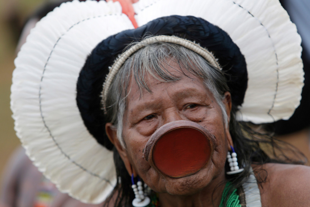 . Indian Chief Raoni of the Kayapo tribe attends the first day of a National Indigenous Mobilization protest in Brasilia, Brazil, Tuesday, Oct. 1, 2013. Indigenous people in Brazil have begun a weeklong campaign to demand the demarcation of their territories.  (AP Photo/Eraldo Peres)