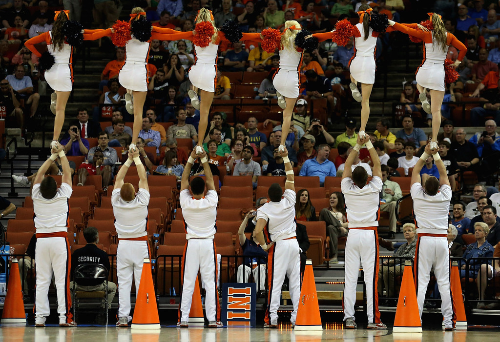 . AUSTIN, TX - MARCH 22:  Cheerleaders of the Illinois Fighting Illini perform during the game against the Colorado Buffaloes during the second round of the 2013 NCAA Men\'s Basketball Tournament at The Frank Erwin Center on March 22, 2013 in Austin, Texas.  (Photo by Stephen Dunn/Getty Images)