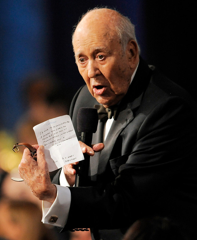 . Carl Reiner shows off his notes as he delivers a testimonial to honoree Mel Brooks during the American Film Institute\'s 41st Lifetime Achievement Award Gala at the Dolby Theatre on Thursday, June 6, 2013 in Los Angeles. (Photo by Chris Pizello/Invision/AP)