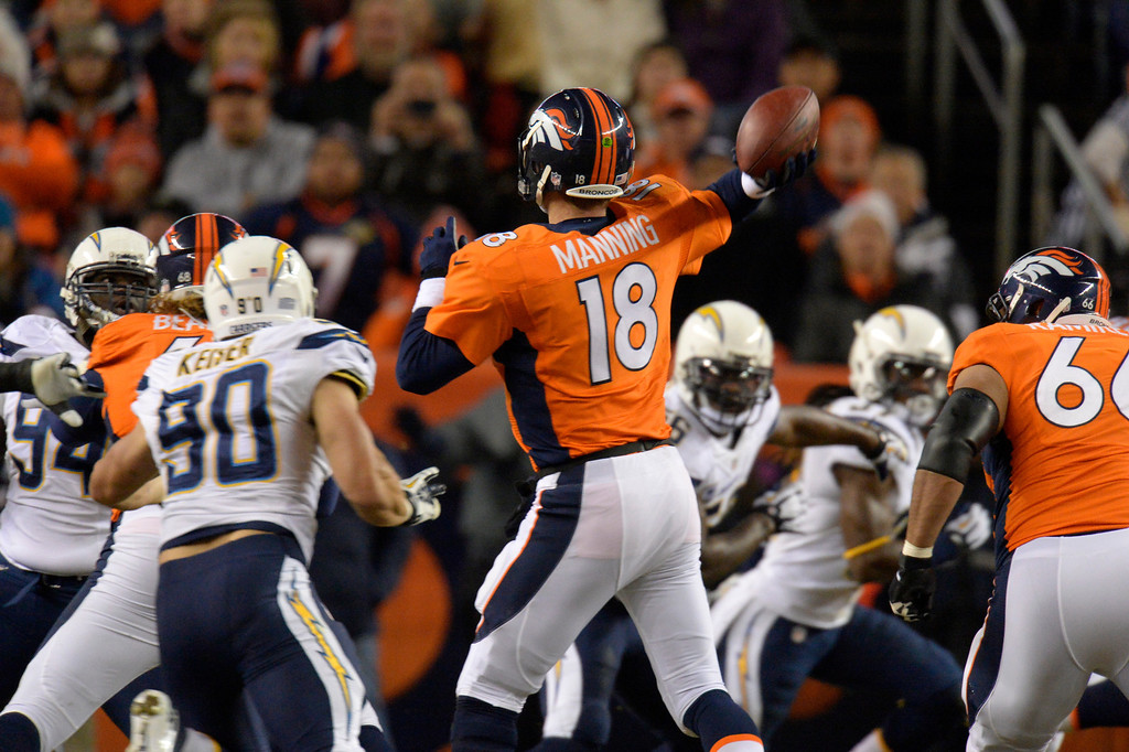 . Denver Broncos quarterback Peyton Manning (18) throws during the first quarter. The Denver Broncos vs. the San Diego Chargers at Sports Authority Field at Mile High in Denver on December 12, 2013. (Photo by John Leyba/The Denver Post)