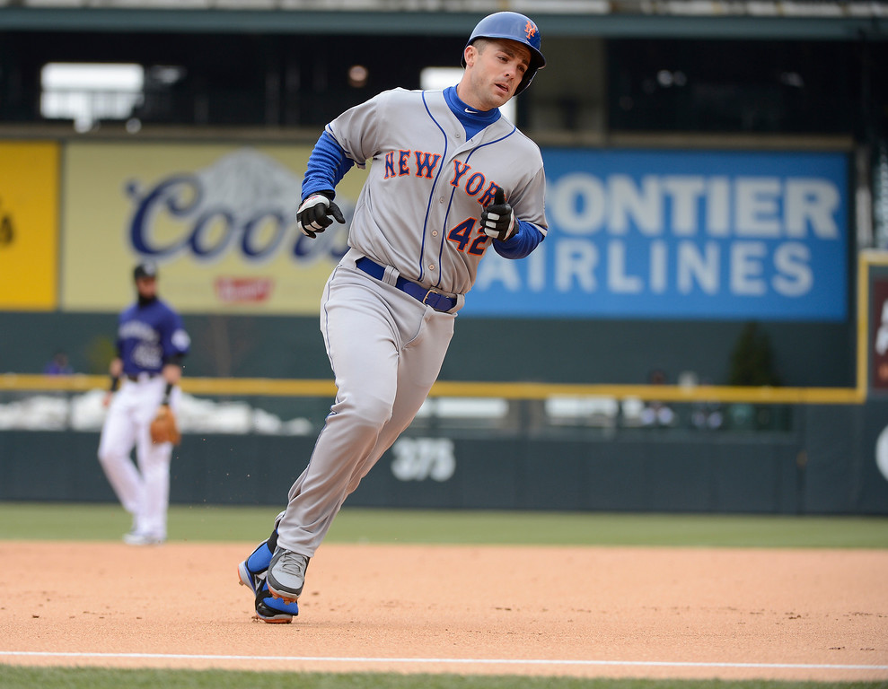 . David Wright of the New York Mets rounds third base after his home run in the first inning against the Colorado Rockies April 16, 2013 at Coors Field. Both teams wore the number 42 on their jersey in honor of Jackie Robinson. (Photo By John Leyba/The Denver Post)