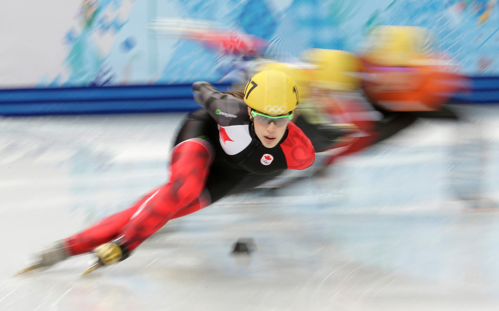 . Valerie Maltais of Canada competes in a women\'s 1000m short track speedskating quarterfinal at the Iceberg Skating Palace during the 2014 Winter Olympics, Friday, Feb. 21, 2014, in Sochi, Russia. (AP Photo/Bernat Armangue)