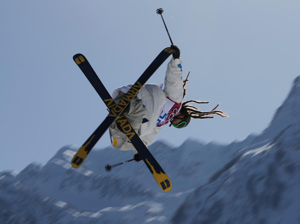. Sweden\'s Henrik Harlaut takes a jump during a ski slopestyle training session at the Rosa Khutor Extreme Park, prior to the 2014 Winter Olympics, Tuesday, Feb. 4, 2014, in Krasnaya Polyana, Russia. (AP Photo/Andy Wong)
