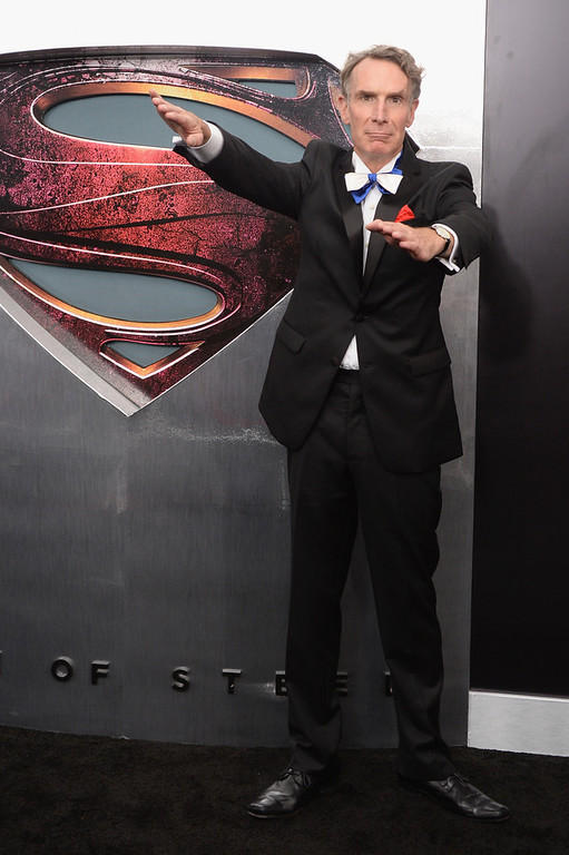 """. Scientist Bill Nye attends the \""""Man Of Steel\"""" world premiere at Alice Tully Hall at Lincoln Center on June 10, 2013 in New York City.  (Photo by Andrew H. Walker/Getty Images)"""