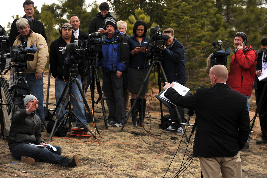 . Lt. Jeff Kramer with the El Paso County Sheriff\'s department holds a press conference along Colonial Park Drive near the house of Tom Clements to talk about the shooting on March 20, 2013.  (Photo By Helen H. Richardson/ The Denver Post)