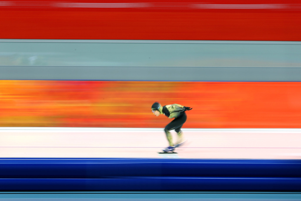 . Shoko Fujimura of Japan competes during the Women\'s 3000m Speed Skating event during day 2 of the Sochi 2014 Winter Olympics at Adler Arena Skating Center on February 9, 2014 in Sochi, .  (Photo by Quinn Rooney/Getty Images)