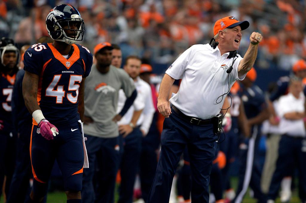 . ARLINGTON, TX. - October 06: Head coach John Fox of the Denver Broncos having problems in the first quarter vs the Dallas Cowboys in game 5 at AT&T Stadium October 06, 2013 Arlington, Texas. (Photo By Joe Amon/The Denver Post)