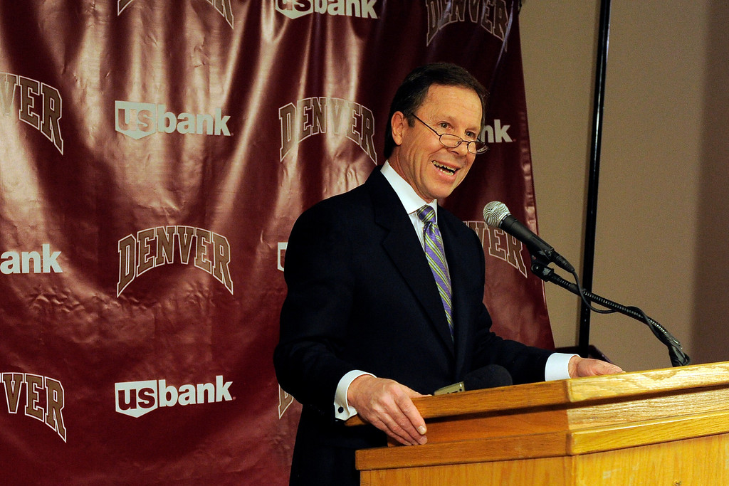 . DENVER, CO. - APRIL 2: Former DU hockey coach George Gwozdecky addresses the media during a news conference April 2, 2013 at Magnuss Arena to discuss the school firing him on Monday. This ends his Pioneers coaching tenure at 19 seasons. (Photo By John Leyba/The Denver Post)