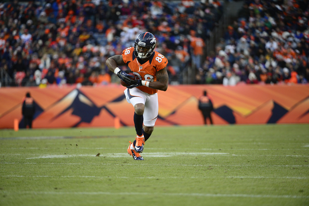 . Denver Broncos wide receiver Demaryius Thomas (88) makes a run in as the Denver Broncos took on the Kansas City Chiefs at Sports Authority Field at Mile High in Denver, Colorado on December 30, 2012. AAron Ontiveroz, The Denver Post