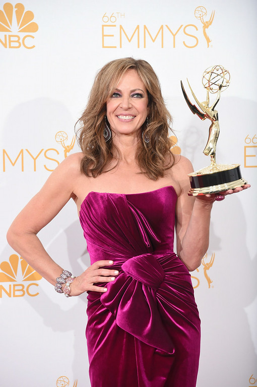""". Actress Allison Janney, winner of the Outstanding Supporting Actress in a Comedy Series Award for \""""Mom\"""" poses in the press room during the 66th Annual Primetime Emmy Awards held at Nokia Theatre L.A. Live on August 25, 2014 in Los Angeles, California.  (Photo by Jason Merritt/Getty Images)"""