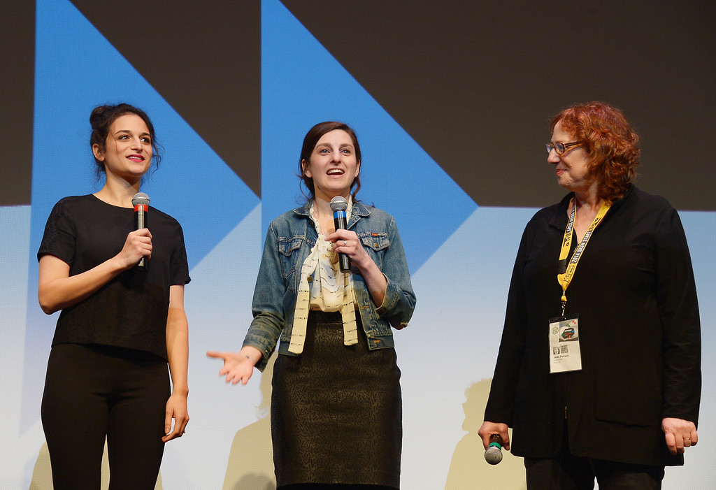 ". (L-R) Comedians/actress Jenny Slate, filmmaker Gillian Robespierre, and SXSW Film Festival Director Janet Pierson takes part in a Q&A following the ""Obvious Child\"" Premiere during the 2014 SXSW Music, Film + Interactive Festival at the Topfer Theatre at ZACH on March 9, 2014 in Austin, Texas.  (Photo by Michael Loccisano/Getty Images for SXSW)"