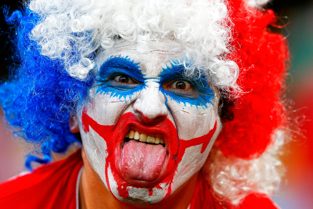 . A Chile fan enjoys the atmosphre prior to the 2014 FIFA World Cup Brazil Group B match between Chile and Australia at Arena Pantanal on June 13, 2014 in Cuiaba, Brazil.  (Photo by Matthew Lewis/Getty Images)